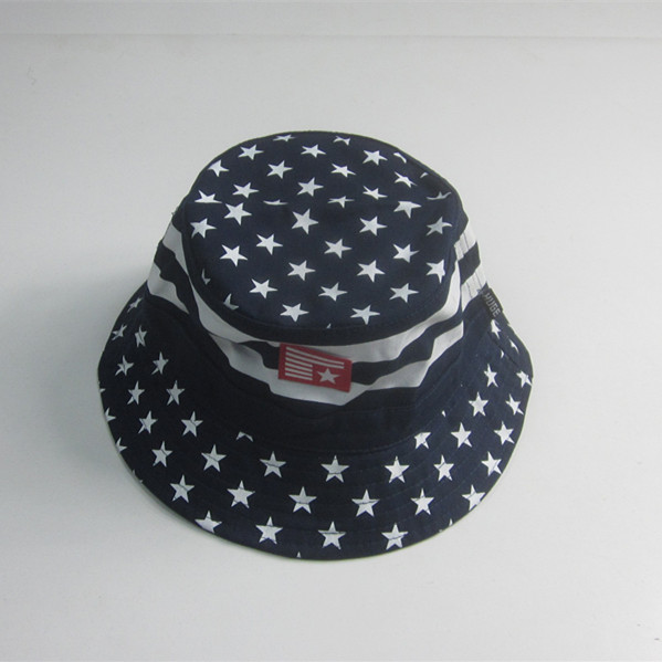 Dot Print Cotton Twill Bucket Hat With Rubber Patch