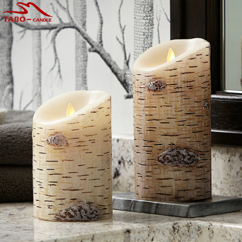 Premium Flicker Flameless Birch lilin pilar lilin