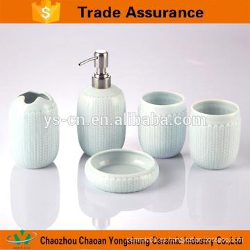5pcs accesorios de baño de cerámica de color azul de lujo con alivio de torsión