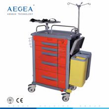 AG-ET018 ABS material hospitalario paciente médica emergencia carro de choque de enfermería carro para la venta