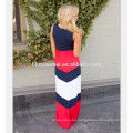 2017 Summer cotton family clothing sleevless patchwork chevron stripe slim dress mommy and me maxi dress wholesale