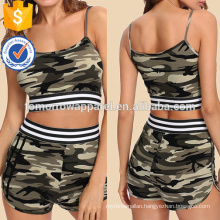 Striped Tape Detail Camouflage Cami & Shorts Set Manufacture Wholesale Fashion Women Apparel (TA4010SS)