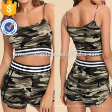 Detalhe da fita listrada Camouflage Cami & Shorts Set Fabricação Atacado Moda Feminina Vestuário (TA4010SS)