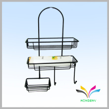 Hot selling custom modern 2 tiers black metal bathroom rack for shampoo