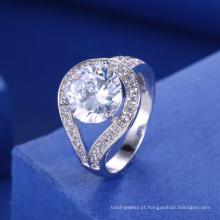 acessórios nupciais 2018 branco anel de pedra grande mulheres anel de noivado de casamento