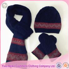 Зима мужчины настроены вязаная шапка перчатки шарф набор