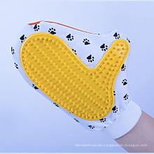 Hund Slicker Bürste der Haustier-Dusche Bambushundebürsten-Handschuh-Hundebürsten für das Verschütten