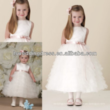 HF2020 Very cute white plain top jewel neckline and pink ribbons waist ruffled tulle skirt A-line short beautiful baby dresses