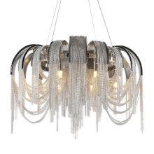 Luxury hotel creative personality led aluminum chain tassel chrome chandelier