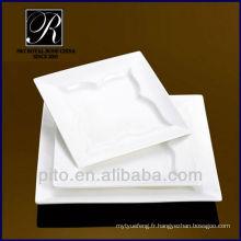 P & T usine de porcelaine plaque carrée en gros, plaque rectangulaire