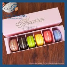Boîte en papier Macarons à impression rose Matt Lamination (boîte à gâteau CMG-017)