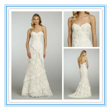 Vintage Strapless Sheath Sweetheart Neckline Lace Wedding Dress(WDJL-1004)