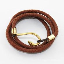 2014 Armband für echtes Leder wickeln Armband fishhook Männer Armband