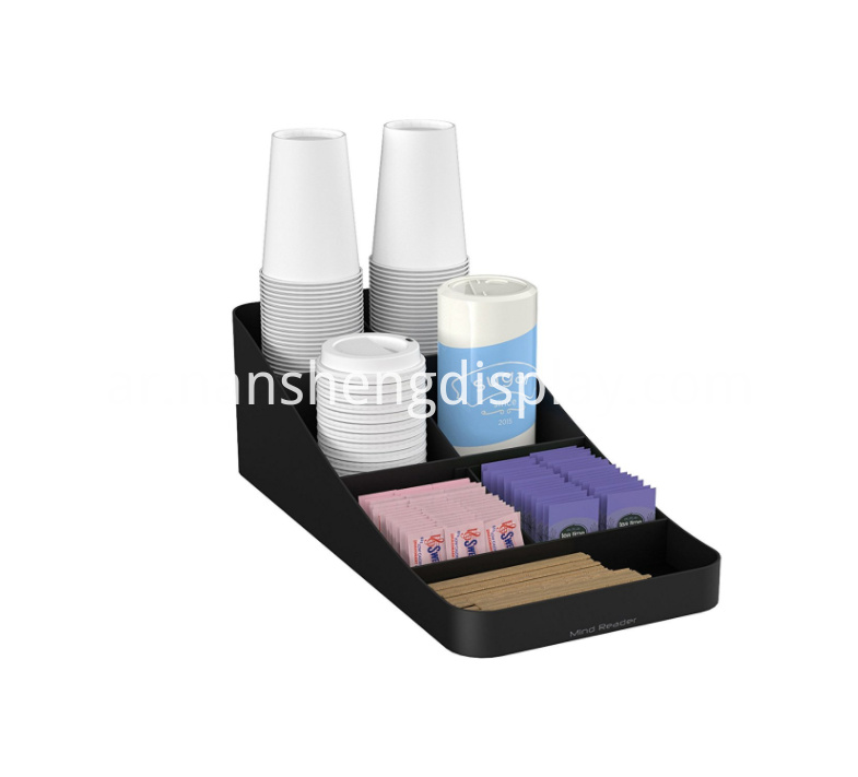 Kitchen 7 Compartment Black Coffee Condiment Organizer