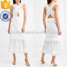 Белый без рукавов Ярусный оборками хлопковое Летнее Миди платье Производство Оптовая продажа женской одежды (TA0023D)