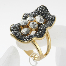 Vintage Jewelry fashion Style Alloy Luxury Rhinestone Flower shape rhodium Finger Rings for Women