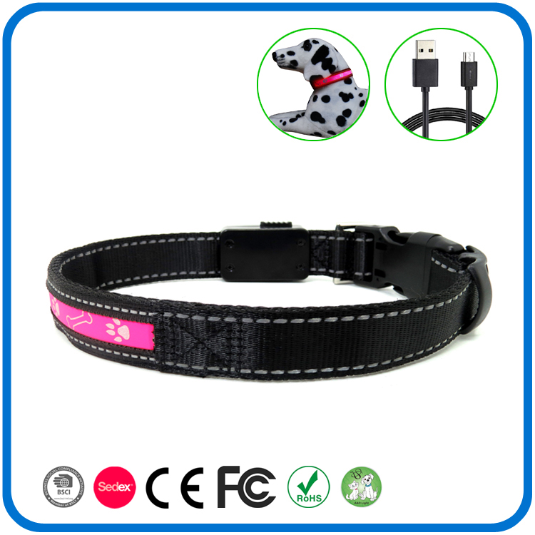 Led Light Up Pink Reflective Dog Collar