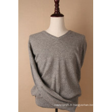 Pull Gris Cachemire Col V Homme