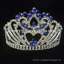Синий тиара красота пользовательские цветные конкурсные короны