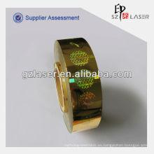 Lámina holográfica metalizada de estampado en caliente para Certificado e ID