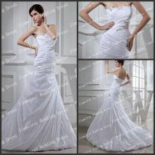 Flowing Strapless Una línea de tren largo de cuentas plisados Satén Real muestra de vestidos de novia Fotos