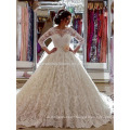 robe de mariage Custom Made Lace vestido de noiva Luxury Cathedral Train 2017 Muslim Puffy Long Sleeve Wedding Dresses MW960