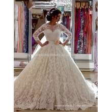robe de mariage Custom Made Lace vestido de noiva Luxury Cathedral Train 2017 Muslim Puffy Long Sleeve Wedding Dresses MW960