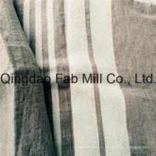 Tissu à lin 100% blanc à rayures pour l'exportation (QF16-2504)