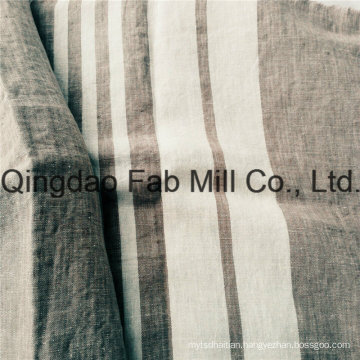 White Striped 100%Linen Fabric for Export (QF16-2504)