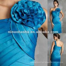 Elegante plissado uma coroa de flores pregueado joelho-comprimento vestido de noite sereia
