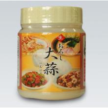 Sushi de garrafa, purê de alho com sabor de tempero