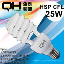 CFL vidro tubo 25W espiral Economizador de energia, lâmpada fluorescente compacta