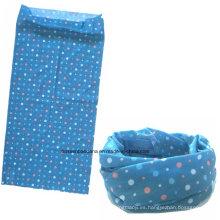China fábrica OEM Produce poliéster Multifuncional Deportes al aire libre de la chica de cuello azul bufanda bufanda de tubo
