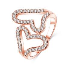 Duplo coração cz diamante mirco pavimentar anel aberto ajustável (cri1027)