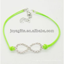 Green fio diamante número oito pulseira de liga de tecido
