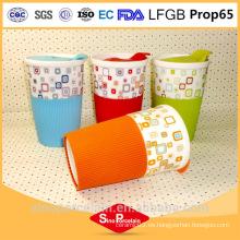 400ml taza de impresión de la etiqueta con la manga de silicona y PS tapa para BS131125C