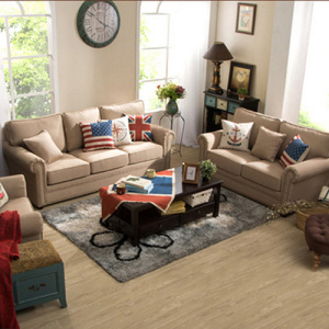 Curved Armrest Living Room Fabric Sofa Set