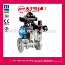 3PC pneumatique à brides PN40 de robinet à boisseau sphérique en acier inoxydable