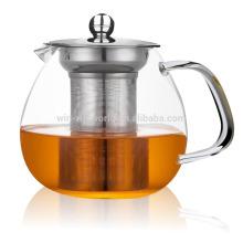 Tetera de vidrio transparente resistente al calor con colador de té de metal 600 ml