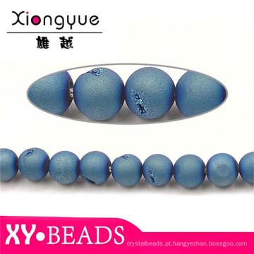 Real jóia Natural facetado redondo frisado colar de pedras preciosas
