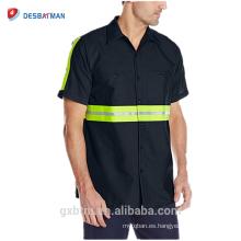 Venta al por mayor azul marino / gris de manga corta 2 piezas de cuello forrado seguridad mejorada Reflectante alta visibilidad botón de seguridad Workwear camisetas