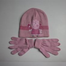 2016 Pink Peppa Pig Knit Hat Gloves