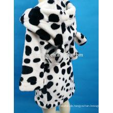Schwarze Flecken bedruckt mit Kapuze Coral Fleece Bademantel für Mädchen