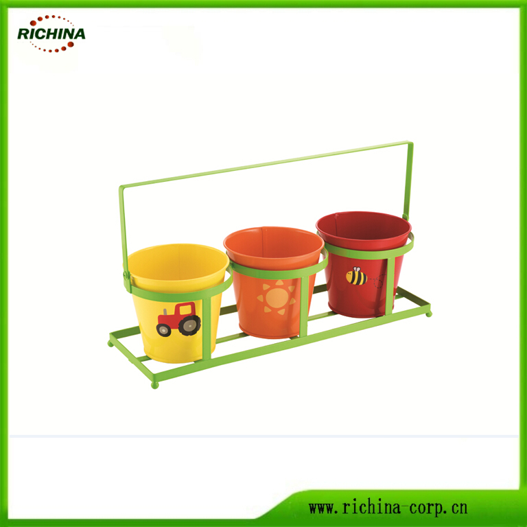 Metal Flower Pots With Tray