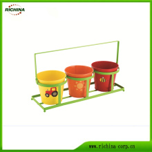 Galvanized Steel Flower Pots with Saucer