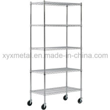 Chrome Metal Movable Wire Shelving Handcart