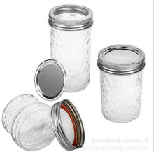 Diamond Shape Glass Mason Jar with Silver Gold Metal Lid for Jam Honey