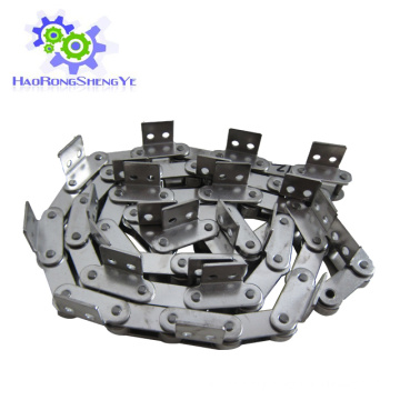 Stainless steel double pitch chain with attachment