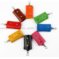 OEM Logo Wholesale Soft PU Leather Key Bag with Hook