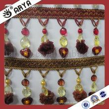 Accessoires de rideau de coupe de pompomètre bordure en perles de polyester